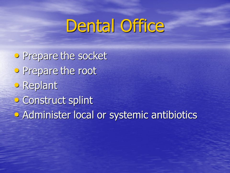 Dental Office Prepare the socket Prepare the root Replant