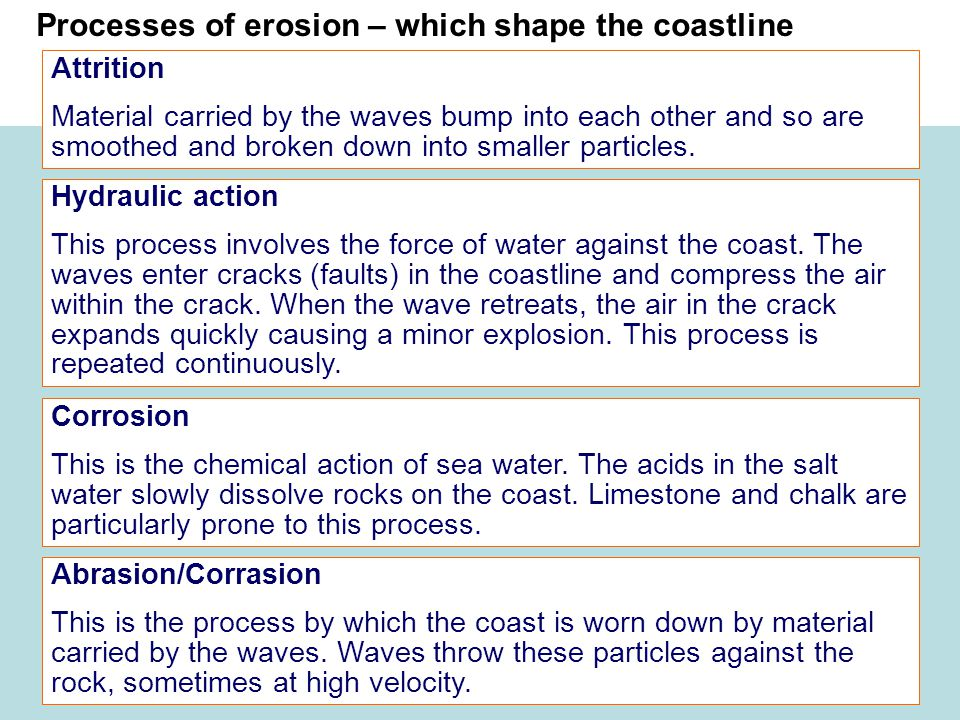 Processes of erosion – which shape the coastline