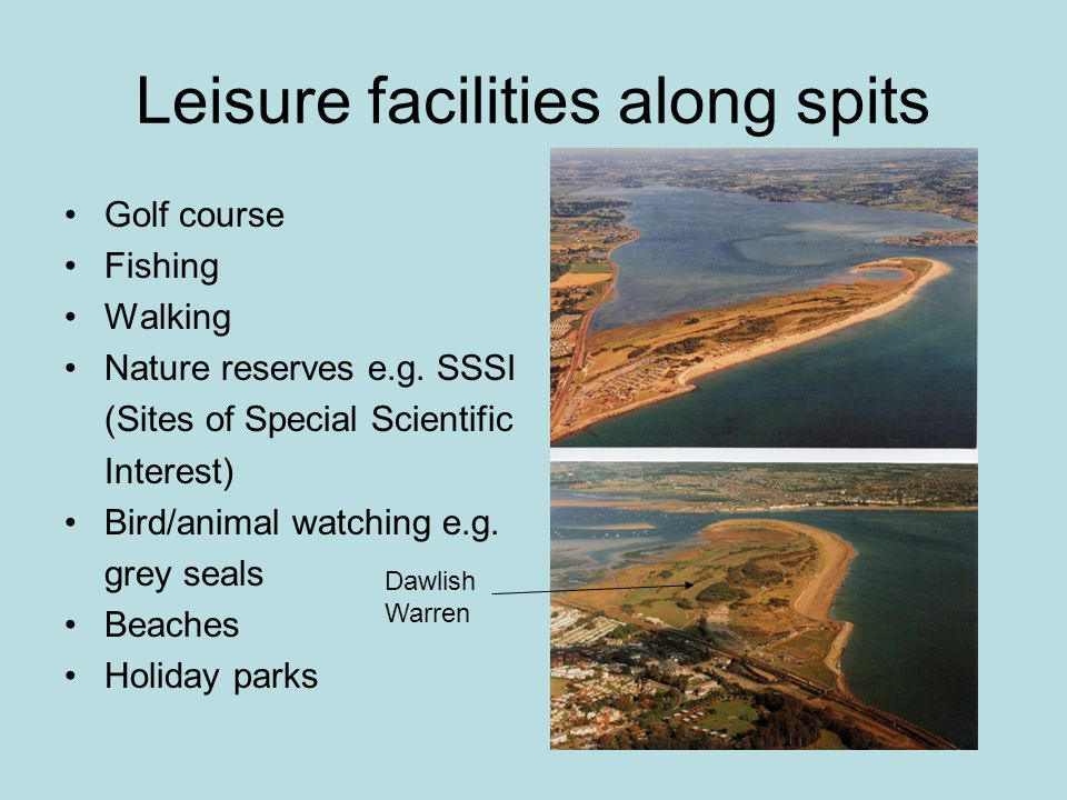 Leisure facilities along spits