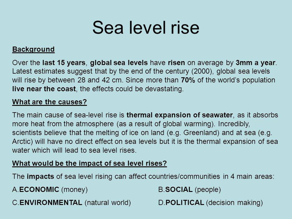 Sea level rise Background