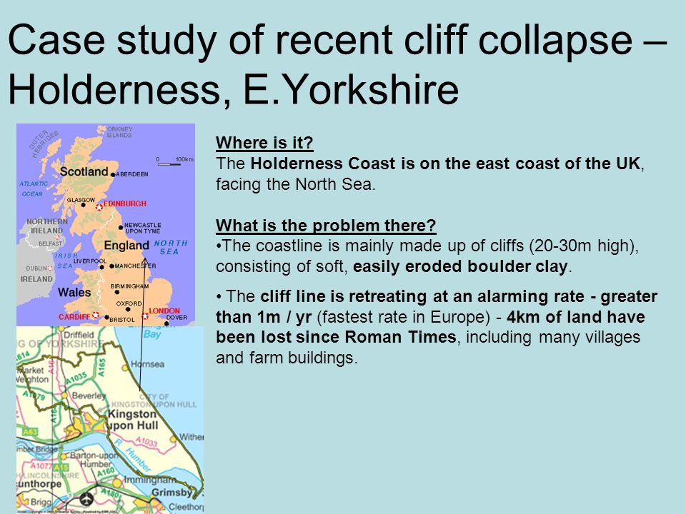 Case study of recent cliff collapse – Holderness, E.Yorkshire