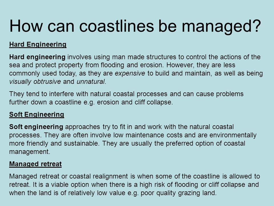 How can coastlines be managed