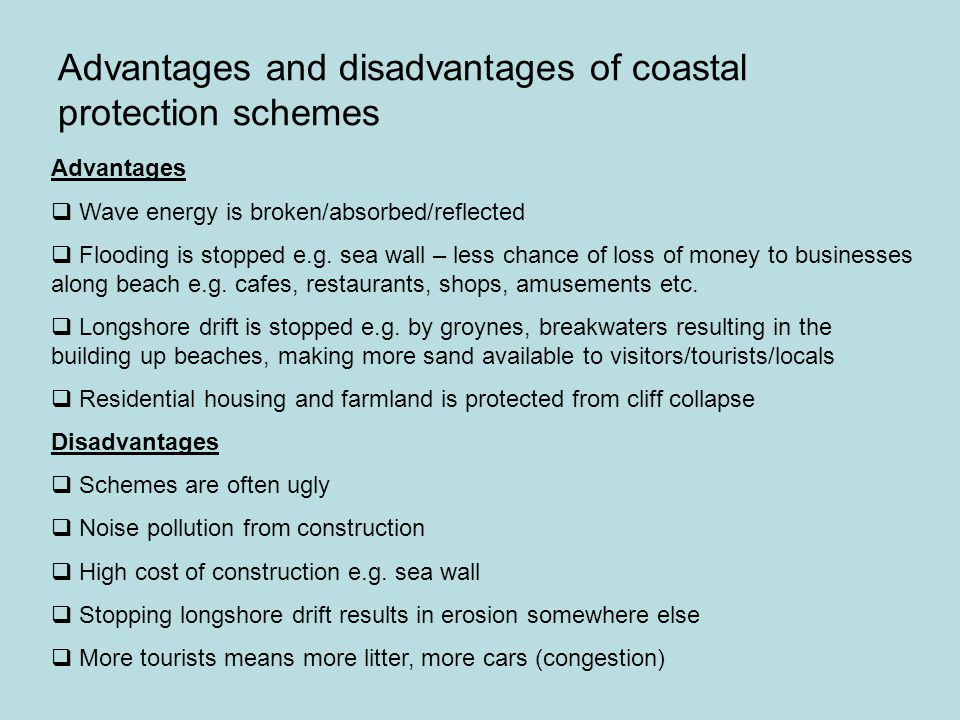 Advantages and disadvantages of coastal protection schemes