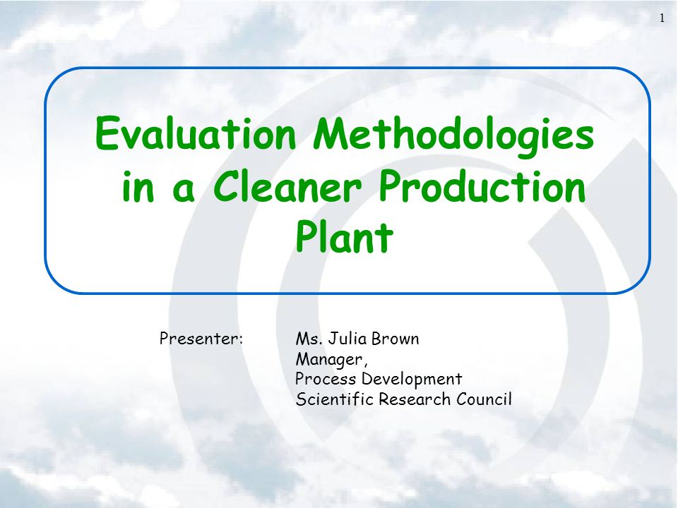 Evaluation Methodologies in a Cleaner Production Plant