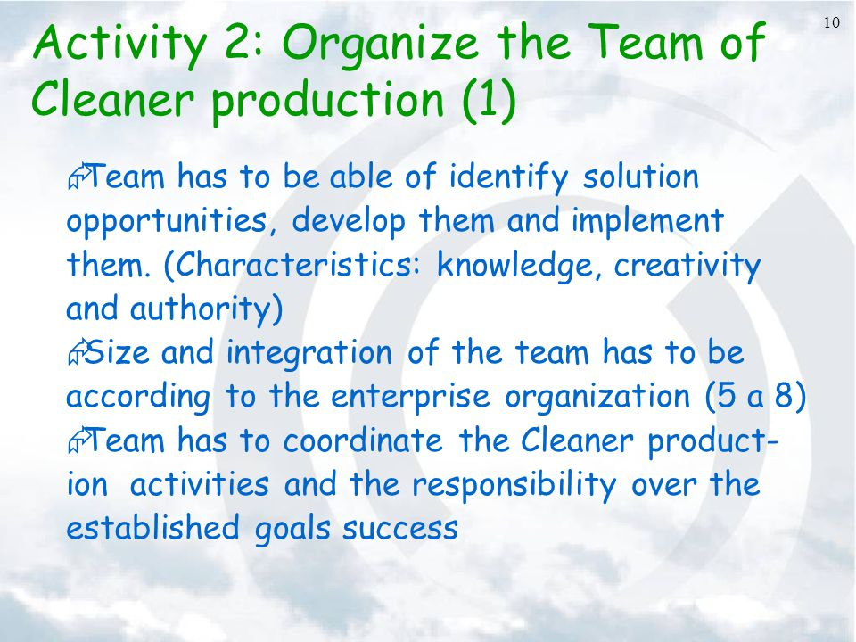 Activity 2: Organize the Team of Cleaner production (1)