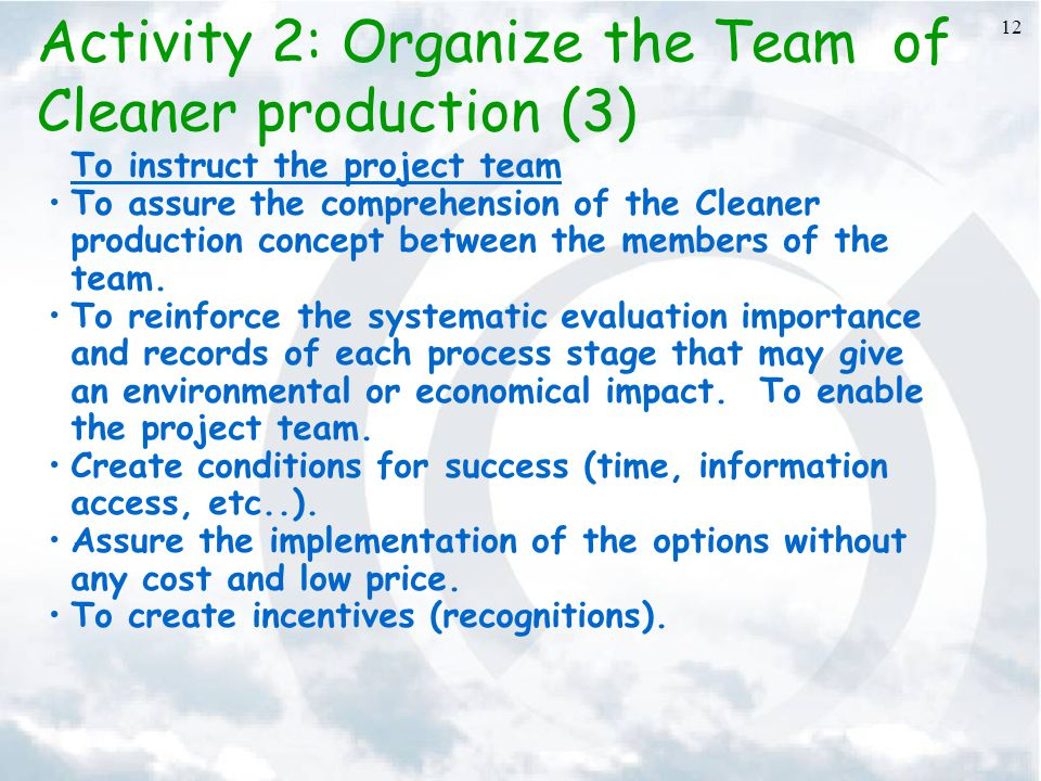 Activity 2: Organize the Team of Cleaner production (3)