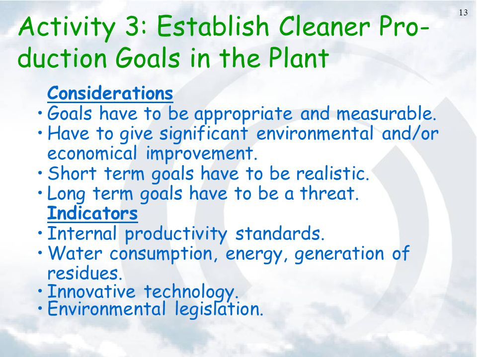 Activity 3: Establish Cleaner Pro-duction Goals in the Plant
