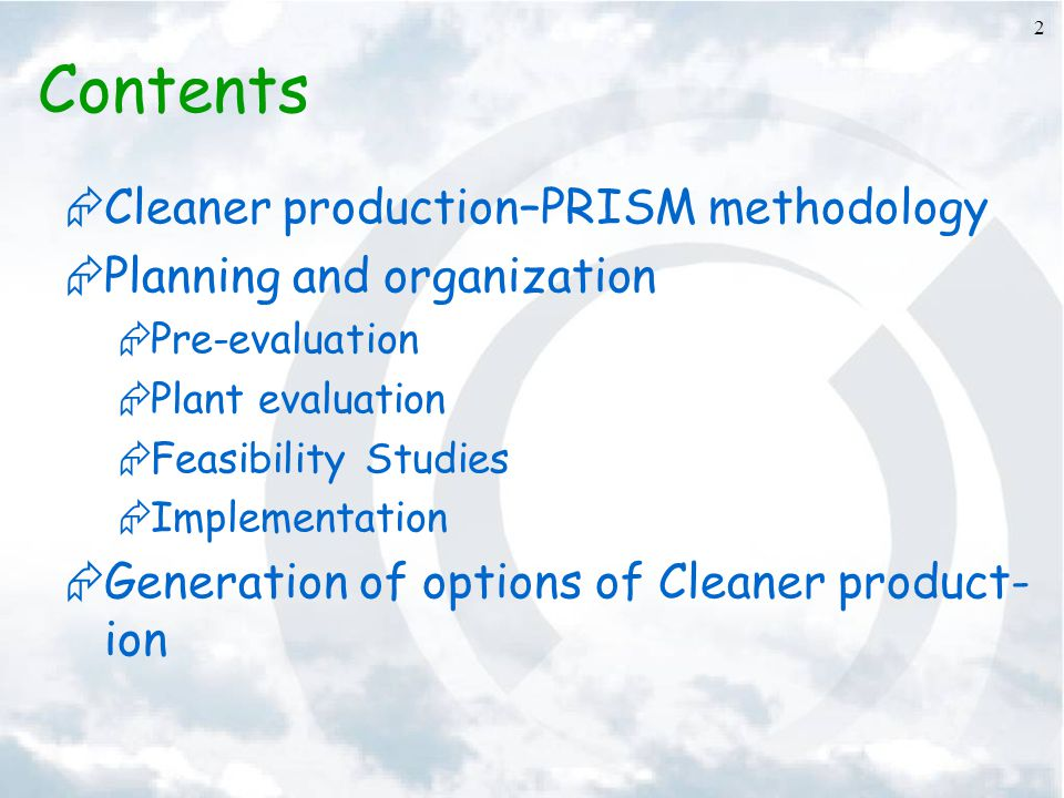 Contents Cleaner production–PRISM methodology
