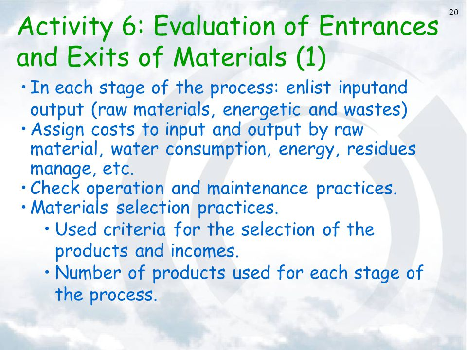 Activity 6: Evaluation of Entrances and Exits of Materials (1)
