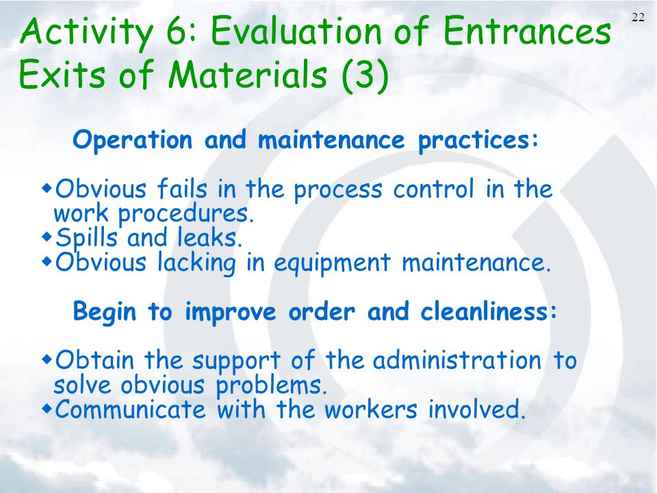 Activity 6: Evaluation of Entrances Exits of Materials (3)