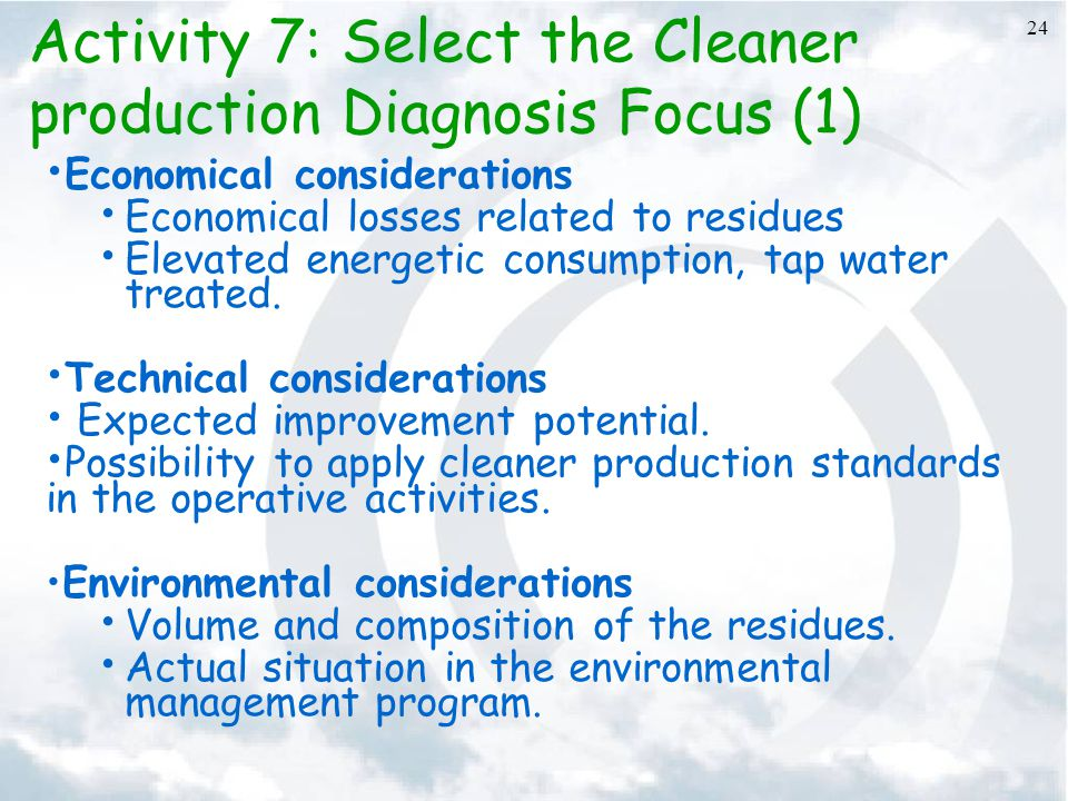 Activity 7: Select the Cleaner production Diagnosis Focus (1)