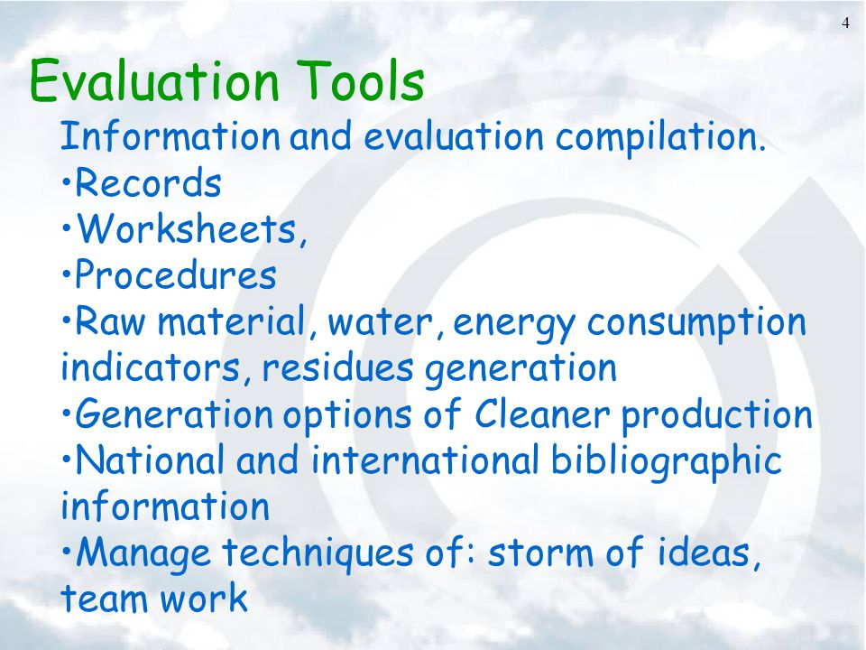 Evaluation Tools Information and evaluation compilation. Records