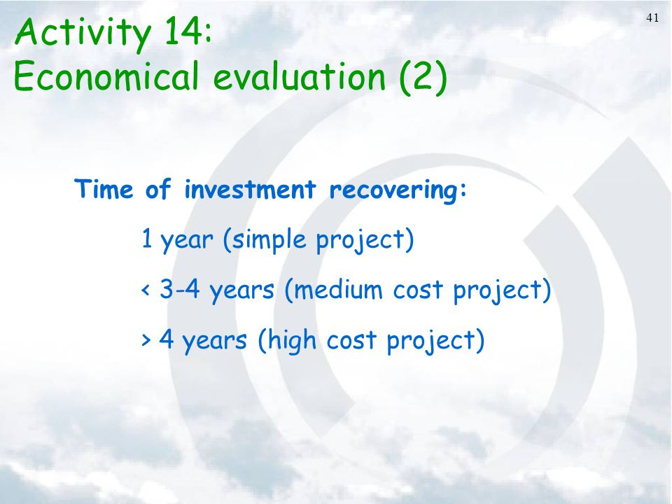 Economical evaluation (2)