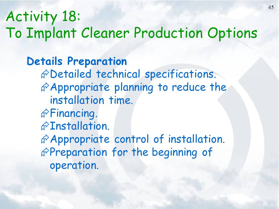To Implant Cleaner Production Options