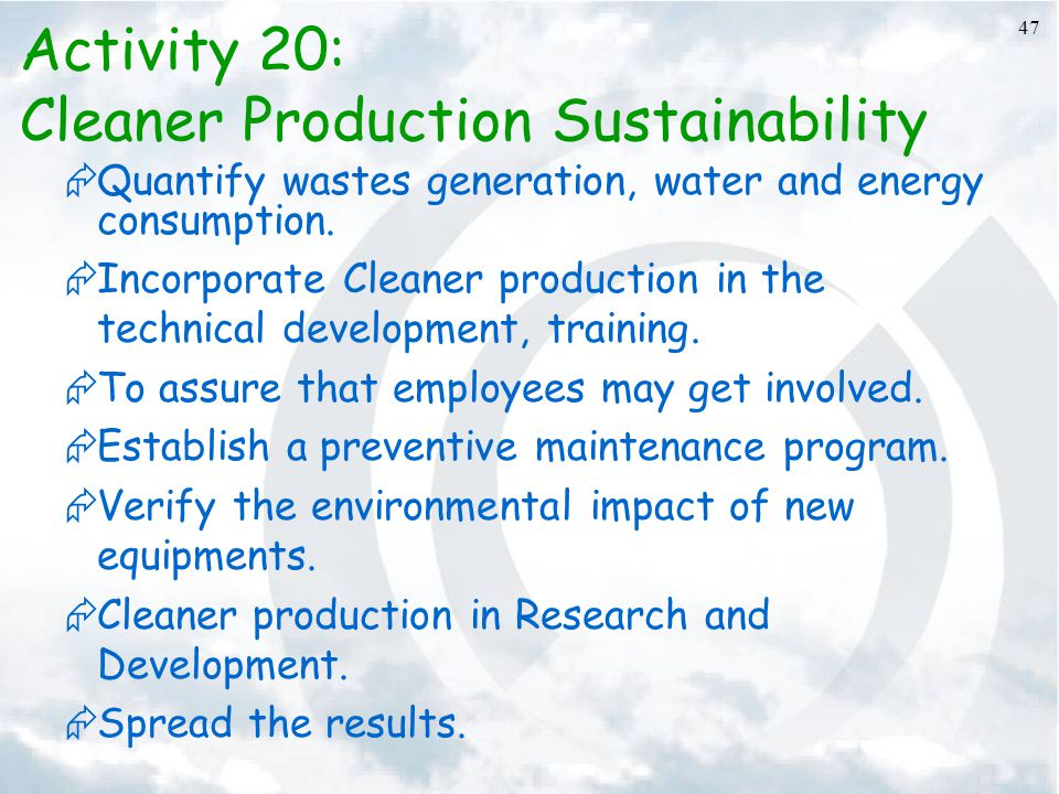 Cleaner Production Sustainability