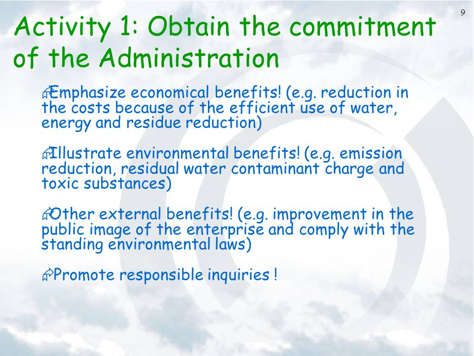 Activity 1: Obtain the commitment of the Administration