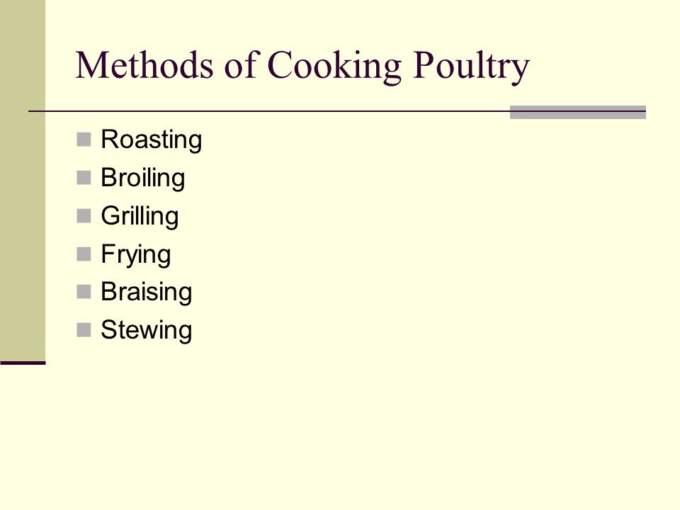 Methods of Cooking Poultry