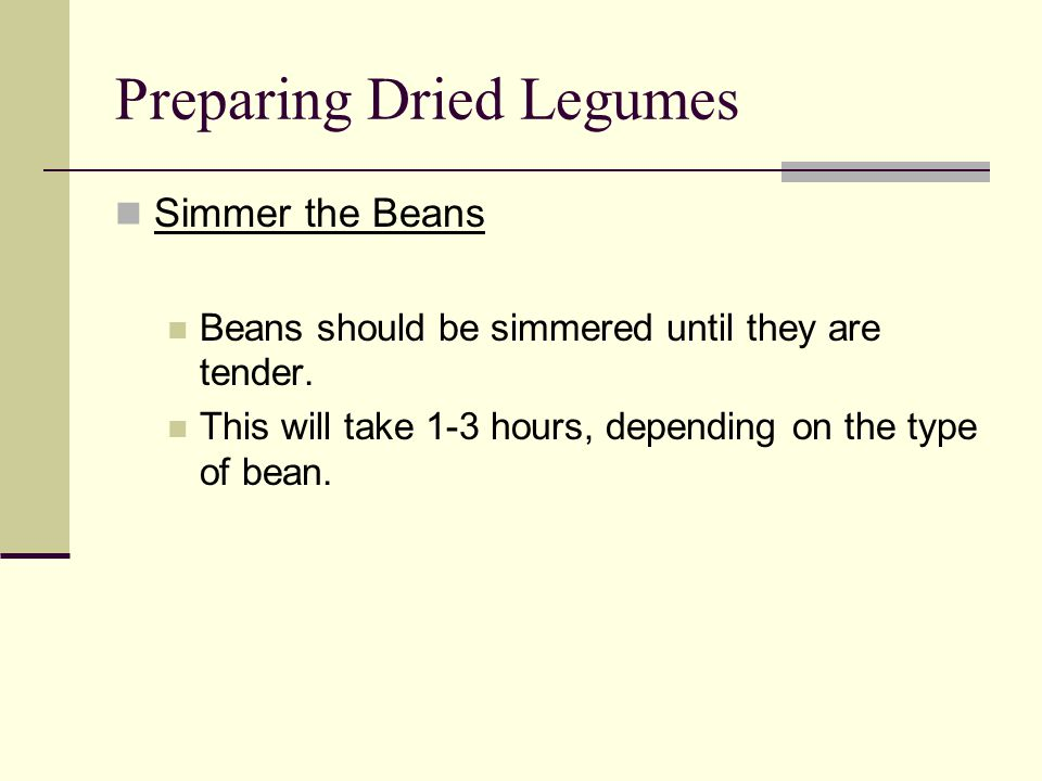 Preparing Dried Legumes