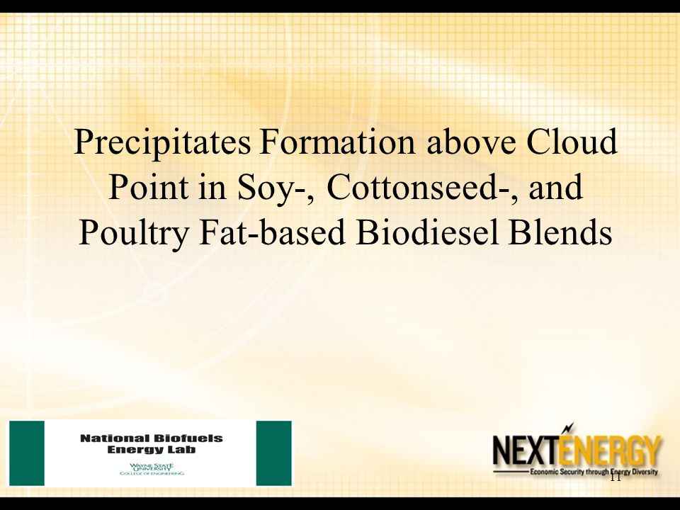 Precipitates Formation above Cloud Point in Soy-, Cottonseed-, and Poultry Fat-based Biodiesel Blends