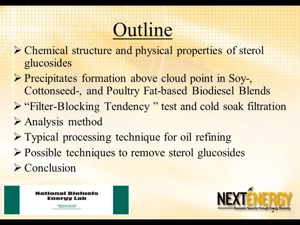 Outline Chemical structure and physical properties of sterol glucosides.