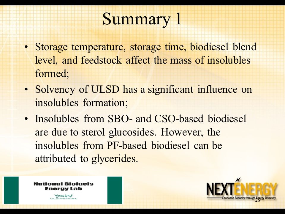 Summary 1 Storage temperature, storage time, biodiesel blend level, and feedstock affect the mass of insolubles formed;
