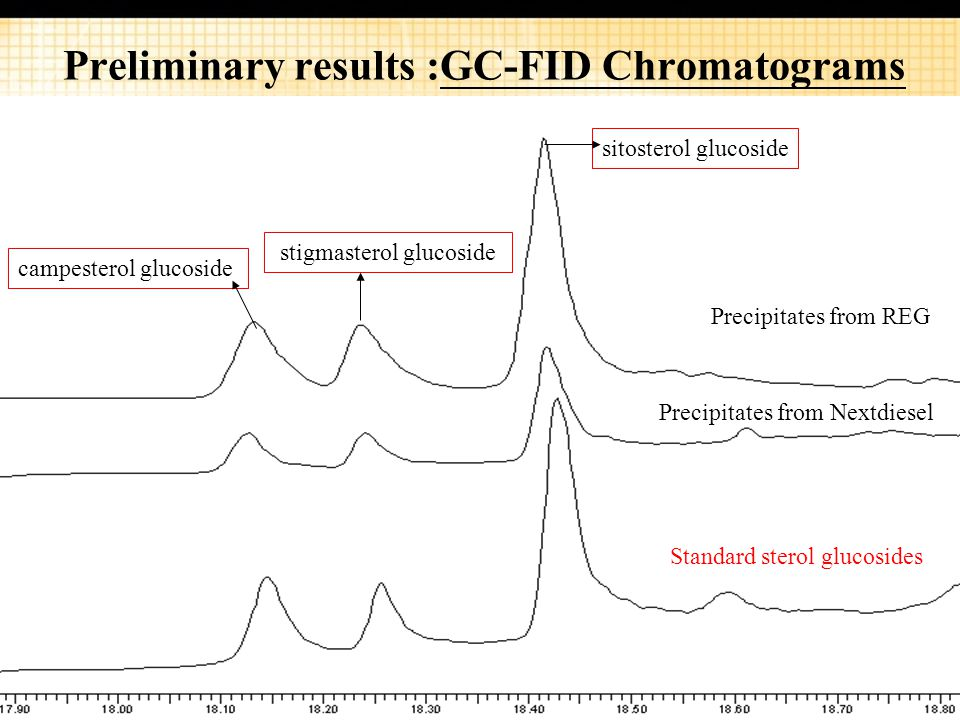 Preliminary results :GC-FID Chromatograms