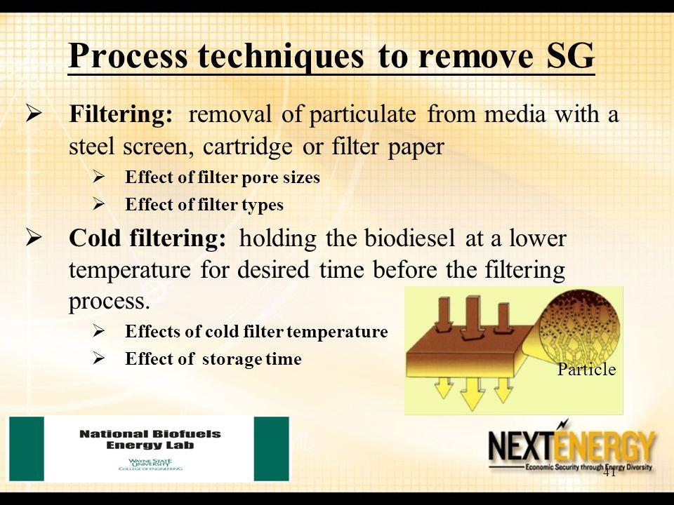 Process techniques to remove SG