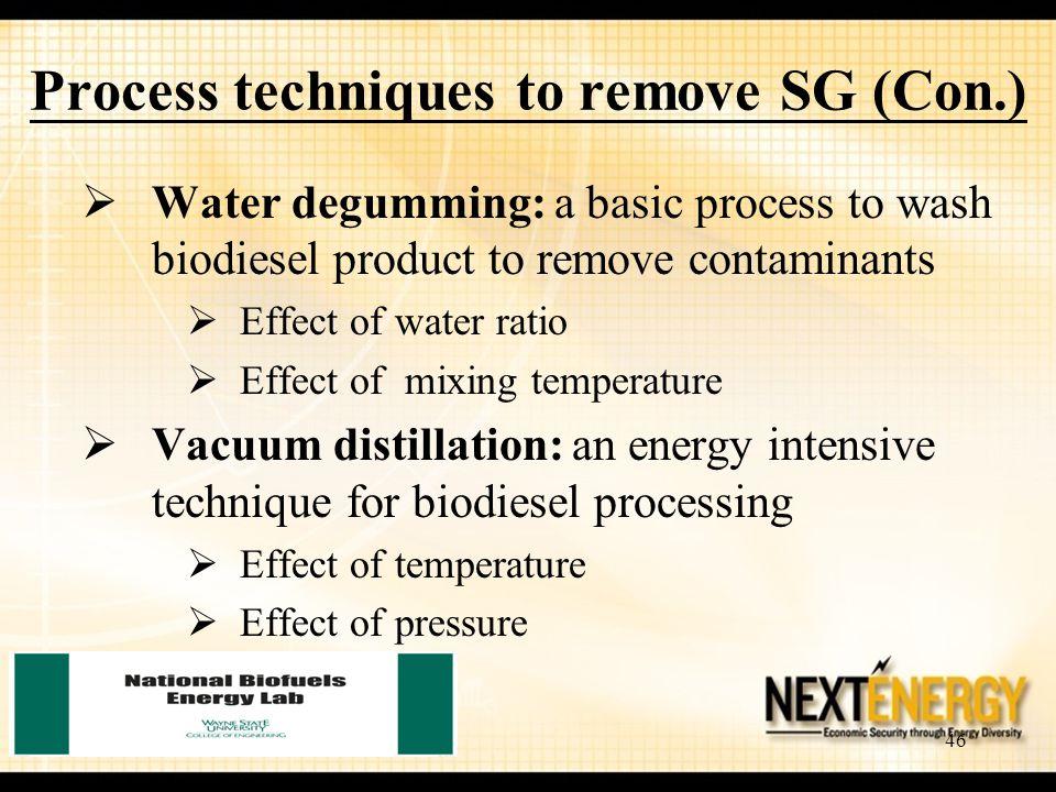 Process techniques to remove SG (Con.)