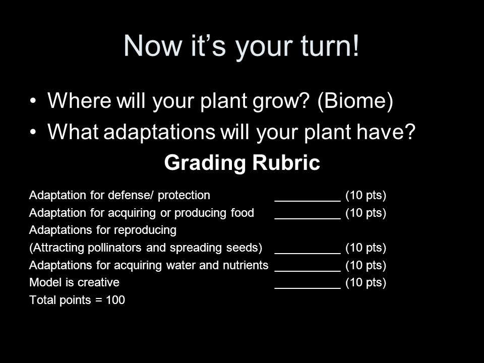 Now it's your turn! Where will your plant grow (Biome)