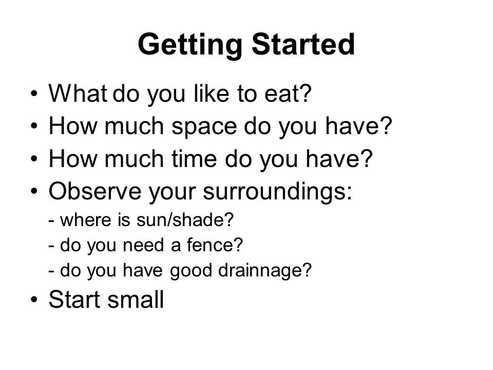 Getting Started What do you like to eat How much space do you have