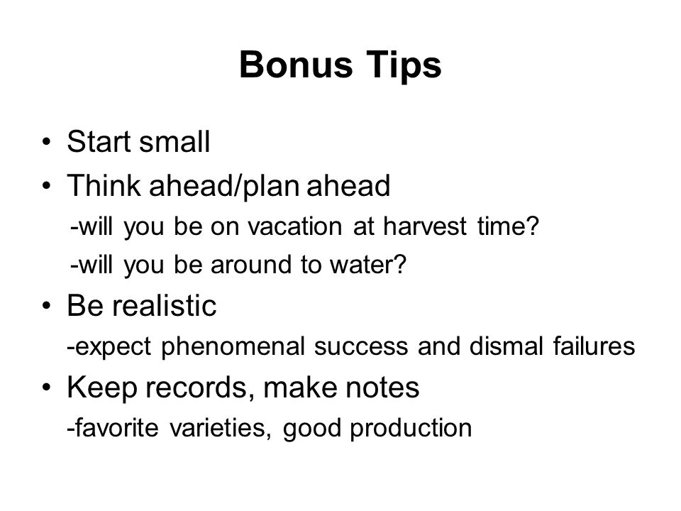 Bonus Tips Start small Think ahead/plan ahead Be realistic