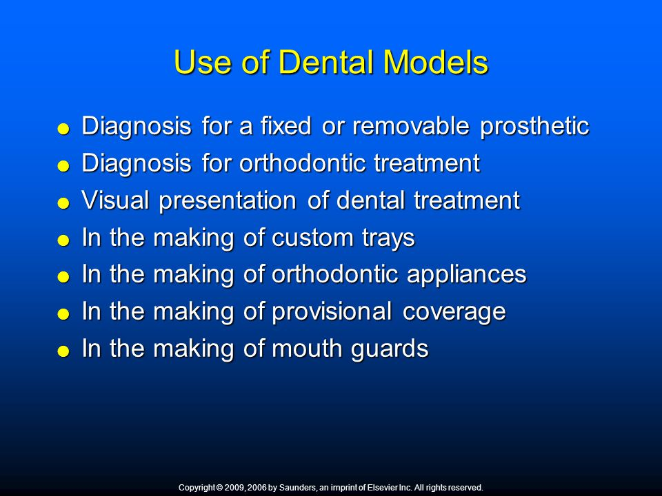 Use of Dental Models Diagnosis for a fixed or removable prosthetic