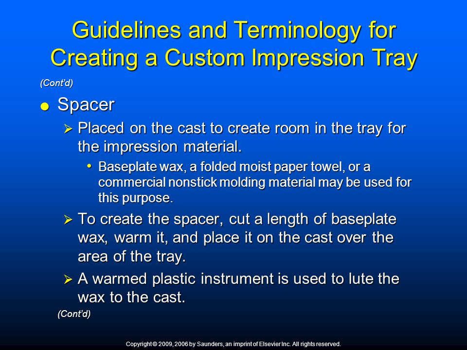 Guidelines and Terminology for Creating a Custom Impression Tray
