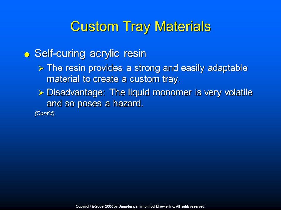 Custom Tray Materials Self-curing acrylic resin