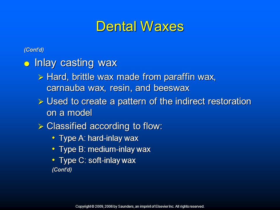 Dental Waxes Inlay casting wax