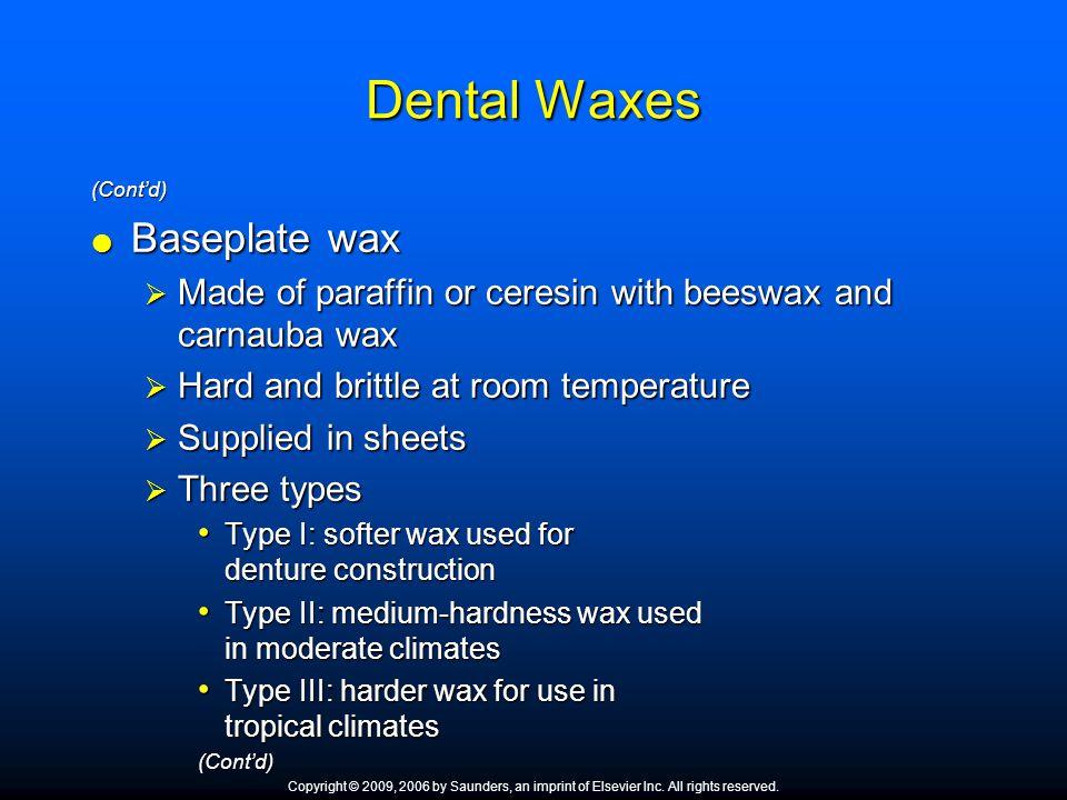 Dental Waxes Baseplate wax