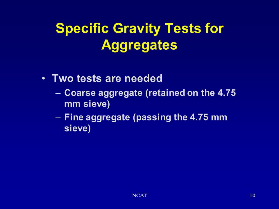 Specific Gravity Tests for Aggregates