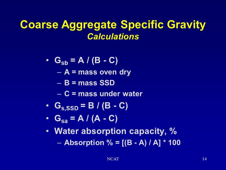 Coarse Aggregate Specific Gravity Calculations
