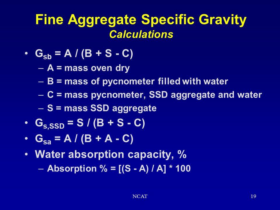 Fine Aggregate Specific Gravity Calculations