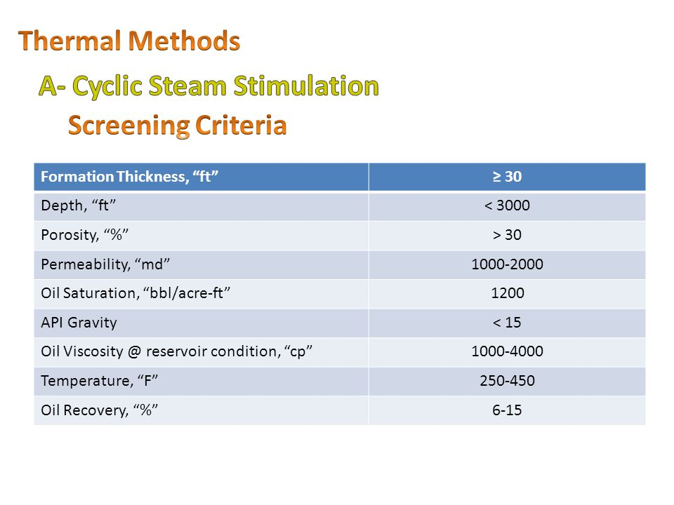 A- Cyclic Steam Stimulation Screening Criteria