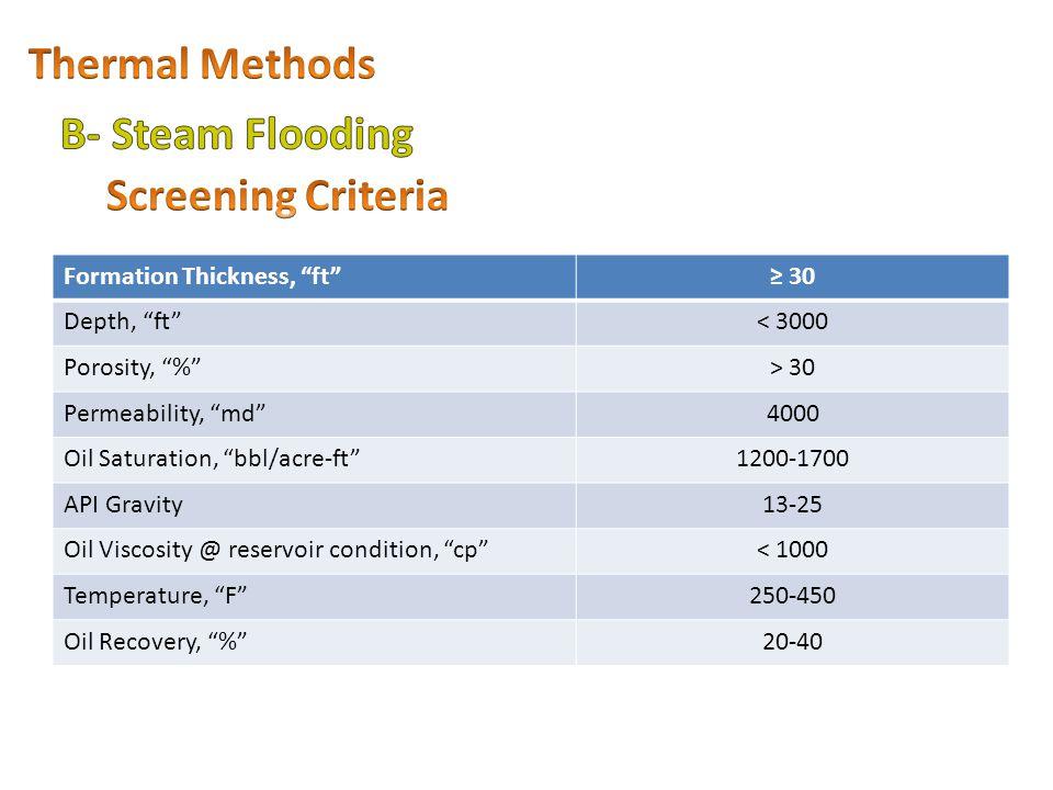 Thermal Methods B- Steam Flooding Screening Criteria
