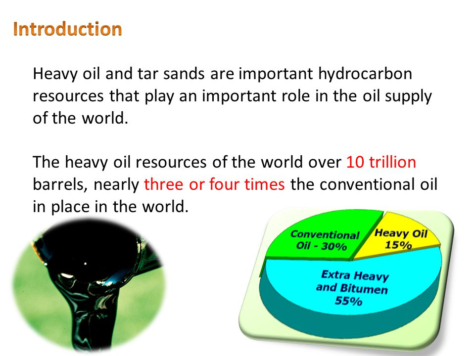 Introduction Heavy oil and tar sands are important hydrocarbon resources that play an important role in the oil supply of the world.