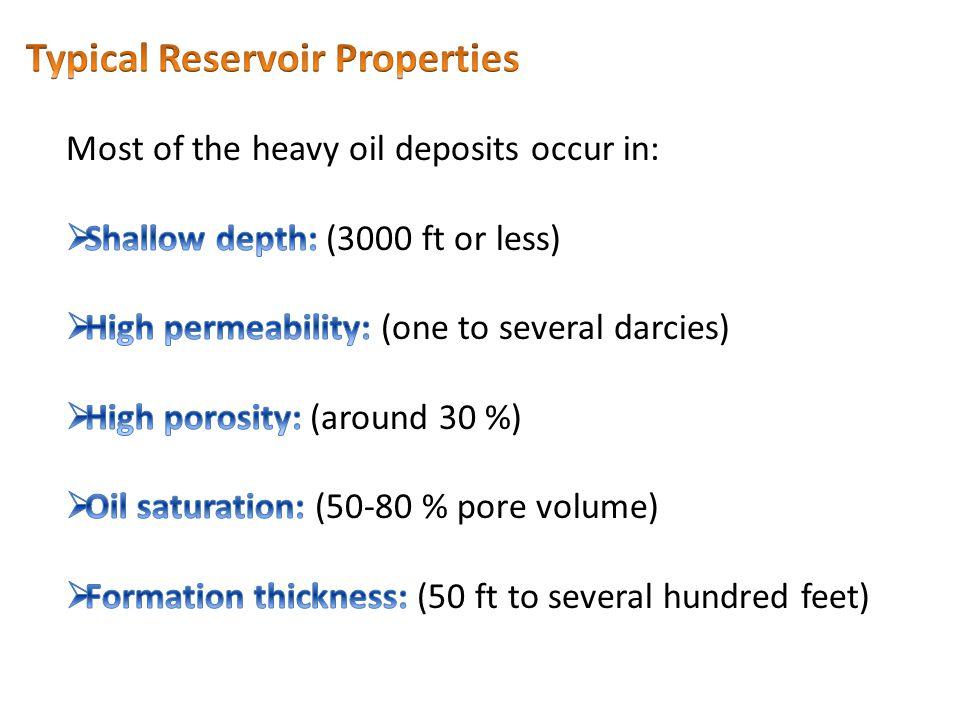 Typical Reservoir Properties