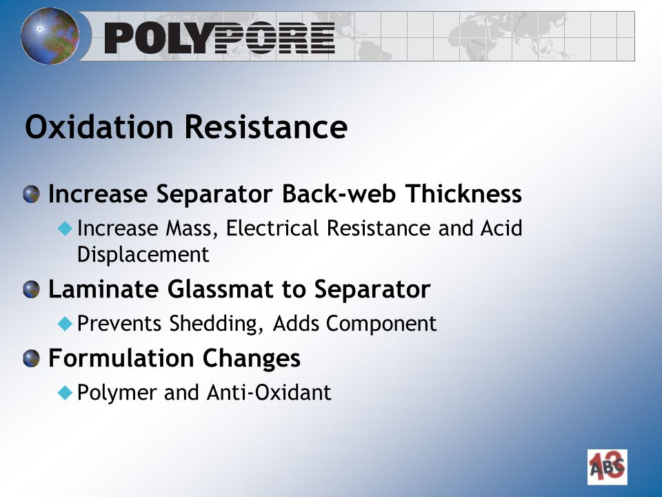 Oxidation Resistance Increase Separator Back-web Thickness