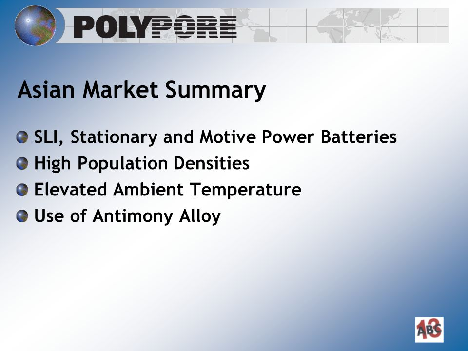 Asian Market Summary SLI, Stationary and Motive Power Batteries