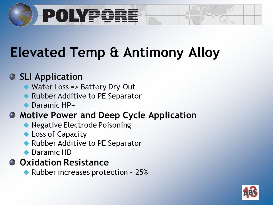 Elevated Temp & Antimony Alloy