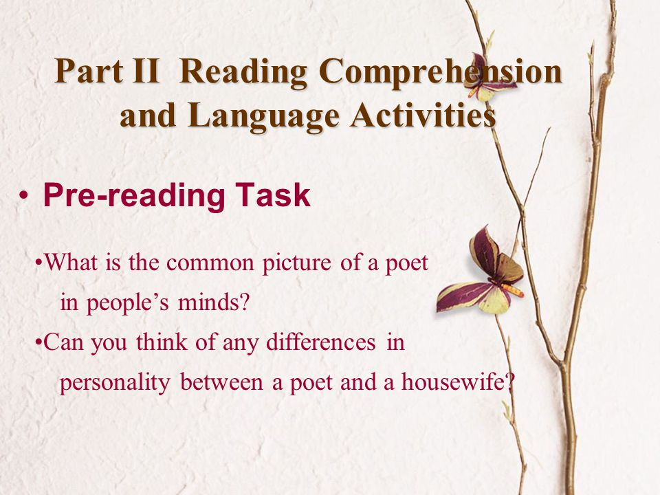 Part II Reading Comprehension and Language Activities
