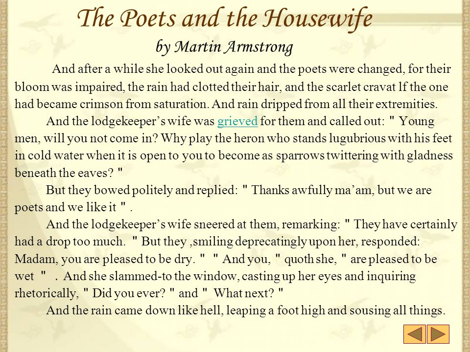 The Poets and the Housewife by Martin Armstrong