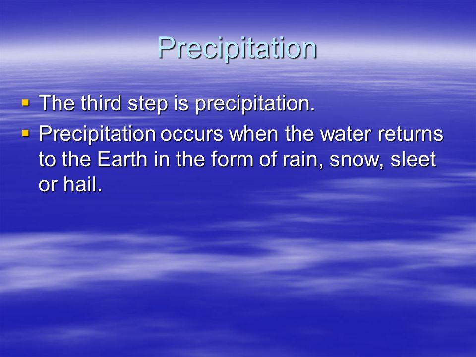 Precipitation The third step is precipitation.