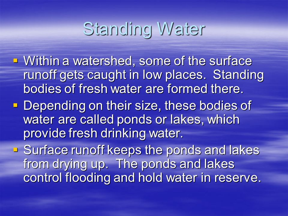 Standing Water Within a watershed, some of the surface runoff gets caught in low places. Standing bodies of fresh water are formed there.